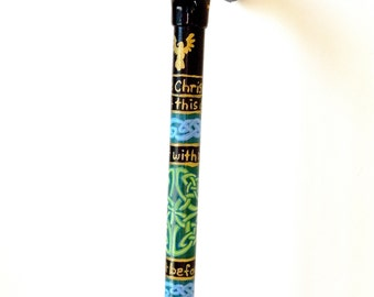 Irish Cane - Hiking Stick - Walking Cane - Celtic Knotwork -  - Fritz Handle - Hand Painted - Cane - Puzzle Cane