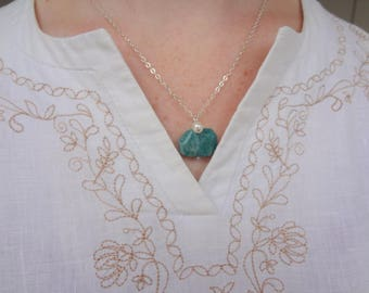 Natural Amazonite and Freshwater Pearl Gemstone Pendant. Sterling Silver Chain and Gemstone Pendant by Miss Leroy
