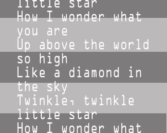 Twinkle Little Star Nursery Rhyme 8x10 Printable