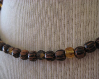 Natural striped wood beaded necklace