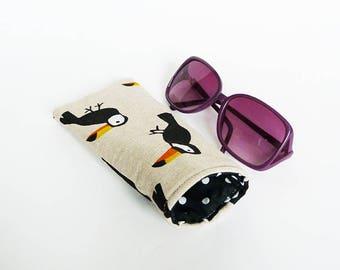 Glasses case,toucan fabric, beige cotton toucan design, cotton case