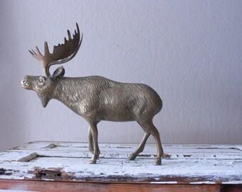Vintage Large Brass Moose // Solid Brass