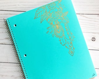 Spiral notebook- Hand drawn Mandalas- Turquiose and Gold- Journals