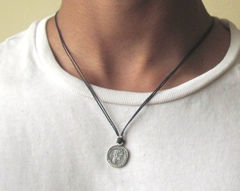 Mens Coin Necklace , Silver Coin Necklace , Coin Pendant , Mens Necklace , Coin Jewellery , Man Gift , Greek Coin Necklace , Boyfriend Gift