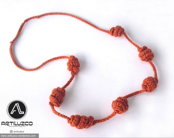 Coppery Irisbo, Crochet necklace, Necklace in natural fibers, Handmade knitted necklace