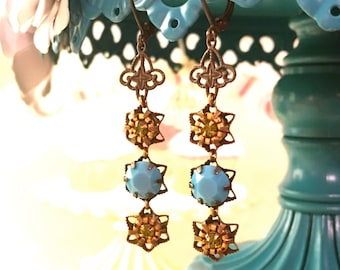 Olivine Swarovski Crystal and Turquoise Earrings with Vintage Stamping in Antiqued Leverback