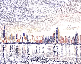 "Chicago Skyline Word Art - Chicago Art Print - FREE Shipping - 16""x20"" - Chicago Cubs - Chicago Decor - Chicago Print - Chicago Poster"