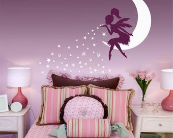FAIRY Wall Decal, Fairy Blowing Stars wall decal, Fairy Blowing Pixie Dust, Fairy on moon, Tinkerbell wall decal, Fairy Stars wall sticker
