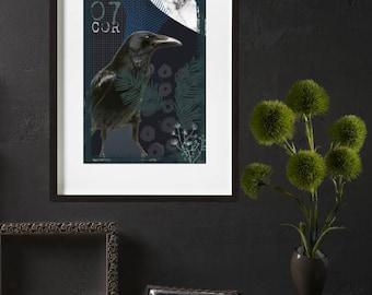 Raven bird print poster