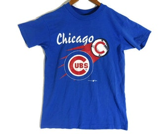 Vintage 1992 Chicago Cubs T Shirt - XS Mens - Small Womens Tee - Large Youth - 50 50 - MLB - Chicago Sports  90s Clothing - Blue Cubs Tee -