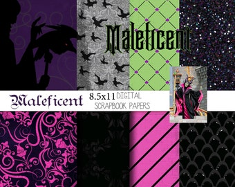 Disney Maleficent Inspired  8.5x11 A4 Digital Paper Pack for Digital Scrapbooking, Party Supplies, etc -INSTANT DOWNLOAD -