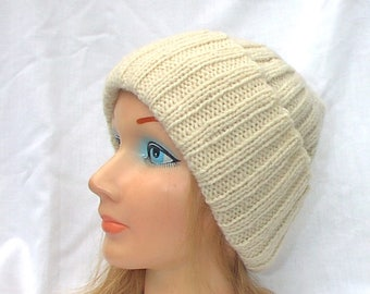 Off White Cream Wool Hat Hand Knit Teens Men Women Watch Cap Beanie