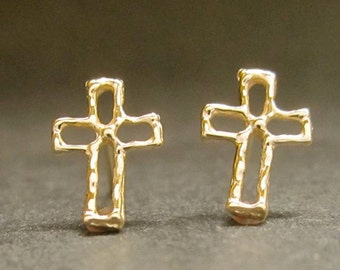 Solid Gold Cross studs, 14k yellow or WHITE studs, open organic design cross