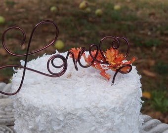 Fall Wedding Love Cake Topper With Optional Autumn Leaves