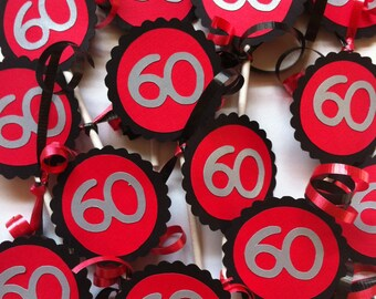 60th Birthday Decorations Cupcake Toppers