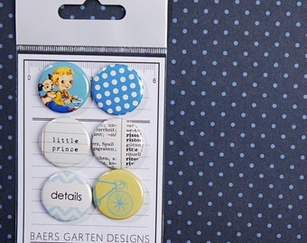 Badges / Flair buttons Vintage Boy - Prince Bike Dictionary Polka dots