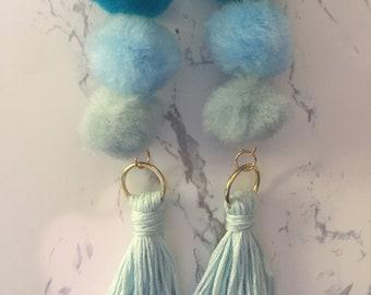 Ombre Pom Pom and Tassel Earrings