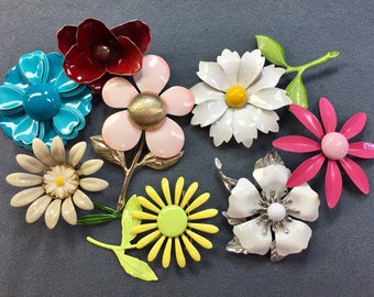 Seven Mod Enameled Flower Brooches-as is.  Free shipping