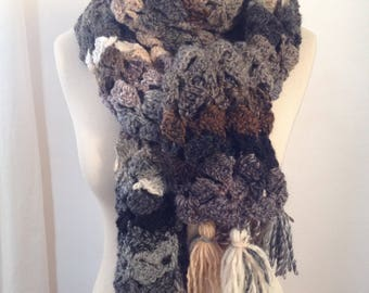 Large crochet scarf-handmade - color Mix of grey, Brown, beige, black - touched very soft and warm
