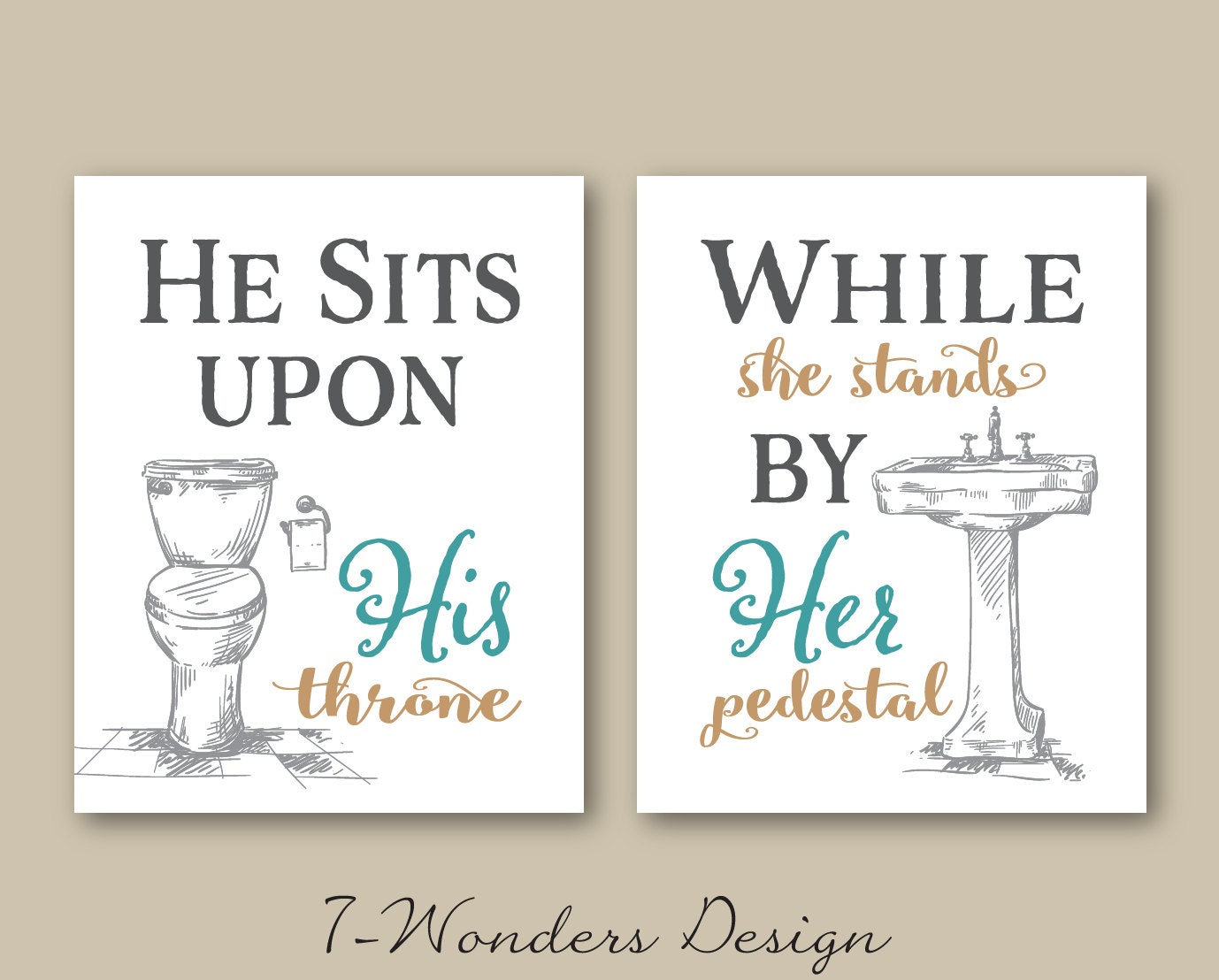 His Her Bathroom Wall Art Prints Set of 3 5x7 Or 8x10