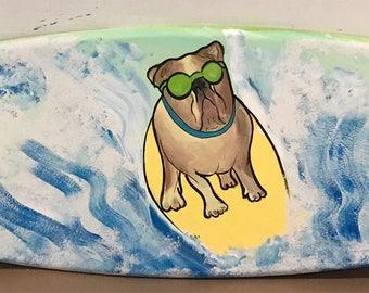 4ft wood surf board surfboard wall art sign boston terrier pug bull dog SAle!