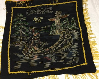Vintage souvenir black velvet wall hanging Canada North Bay as is