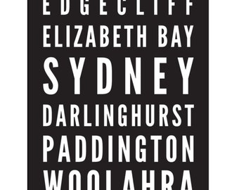 Tram Scroll / Bus Scroll - featuring suburbs of Sydney.