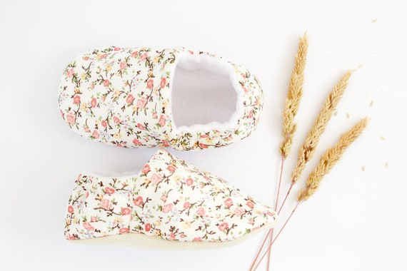 Amber roses cotton Baby Girl Shoes Hand Made In England