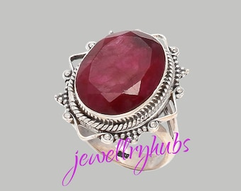 Ruby Ring, Ruby Stone Ring, Ruby Silver Ring, Gemstone Ring, Handmade Ring, Bohemian Ring, Gypsy Ring, Women Gift Ring, R25RB