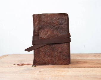Rustic leather journal, Leather journal with pocket, Mens Journal