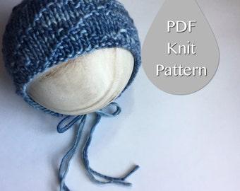 PDF Knit Pattern #0016  The Braydyn Knit Bonnet, Newborn, Knit PDF Pattern, Tutorial, Knit Pattern, Beginner, Easy,Instruction,Newborn