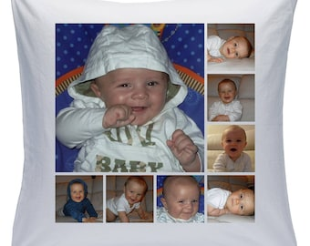 """Personalised White 18"""" Cushion - Collage - 8 Photos - Style 13 ( Can be purchased with or without the inner padding )"""