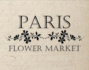 Paris Flower Market Digital Download or Iron on Transfer