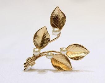 Vintage Gold Tone Rose Leaf Brooch Pin with Faux Pearls, Vintage Jewelry, Jewellery