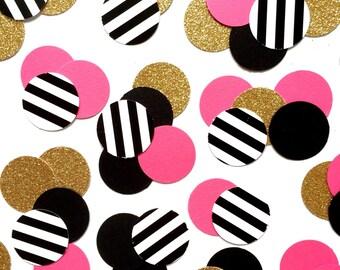 150 Kate Spade Party Confetti, 30th Birthday Decor, Paris Confetti Bridal Shower, Fuchsia, Black, Black&White Stripe, Gold Glitter