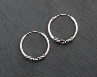 Silver Hoops, Simple Hoop Earrings, Everyday Earrings, Bali Hoops, Boho Hoops, Sterling Silver, 925