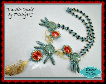 NEC-026-2016-121 - Pacific Opals - Beadwork necklace, beadweaving necklace, beaded necklace,