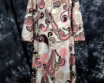 Vintage 1960s Lane Bryant Maxi Dress with 3/4 Sleeves and Pink and Brown Psychedelic Swirls, Size Large -- Groovy // Retro // Boho