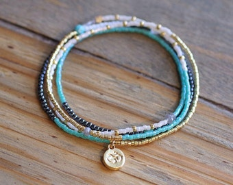 Turquoise and Gold Wrap // 4x Stretch Wrap Bracelet // Seed Bead Bracelet // Multi-Layer Bracelet