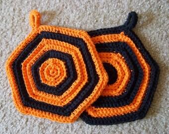 Potholder for Halloween or Thanksgiving - Set of Two Crochet Potholder - Hexagon
