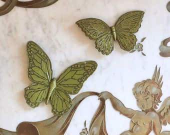 Vintage 60s 70s Plastic Butterfly Wall Hangings Green MOD Mid Century Modern Plaques Set of 2