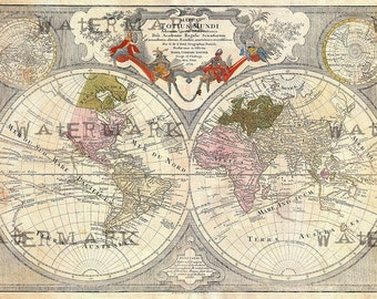 Old world map circa 1689 cross stitch pattern pdf files from old world map 1775 download scan of an old original map of the world instant download high resolution jpg gumiabroncs Images