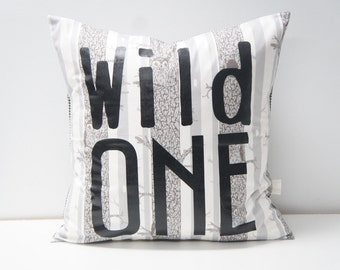 WILD ONE Pillow Cover, 20x20, Trees and owls print