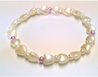 Heart Pearl bracelet, very romantic
