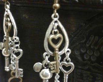 Dangling key earrings