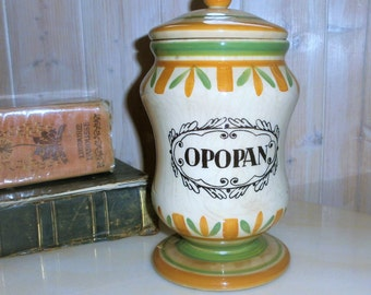 French Vintage apothecary jar / / Opopan / / french Vintage apothecary canister / / Vintage pharmacy jar / / Gien France / / Made in France