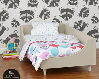 Raccoons wallpaper, Animal wallpaper for kids room, Monochrome wall mural, Self adhesive, Repositionable, Removable #91