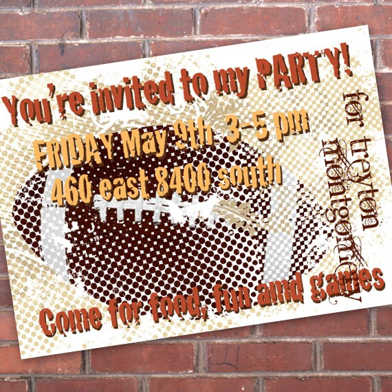 birthday party invitations, football birthday party, sports birthday party, pigskin party, superbowl party, football team party invitations