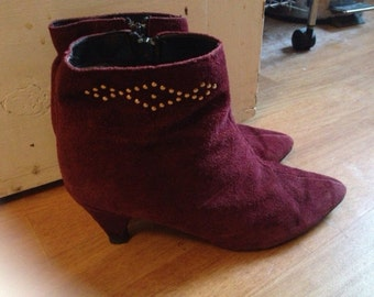 Amazing 1970's burgundy suede boots