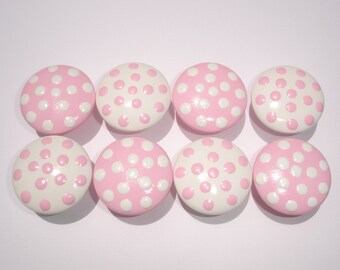 Set of 8 Hand Painted Pink and White Dresser Drawer Knobs with Polka Dots
